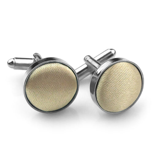 Brown Gold Fabric Cufflinks Material Silver