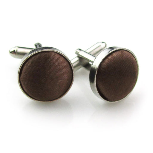 Brown Fabric Cufflinks Material Silver