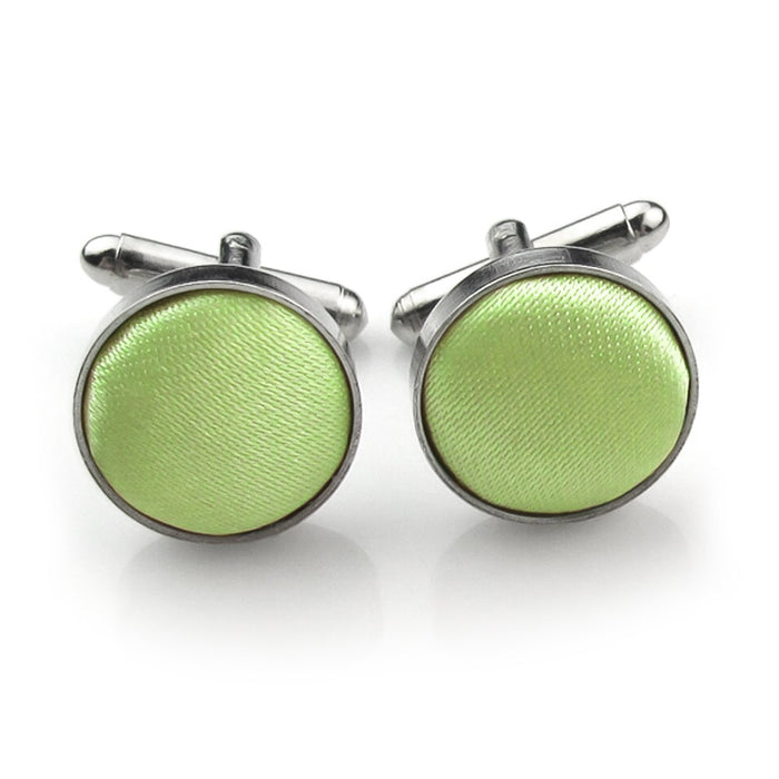 Lime Green Fabric Cufflinks Material Silver