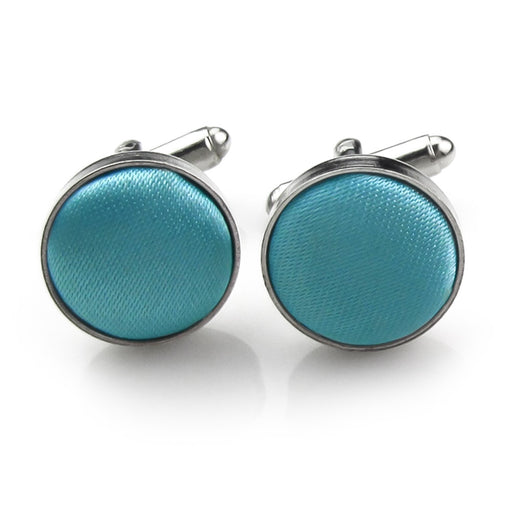 Turquoise Fabric Cufflinks Material Silver