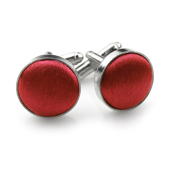 Red Fabric Cufflinks Material Silver