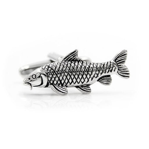 Fish Carp Fishing Cufflinks Silver Black Image Front