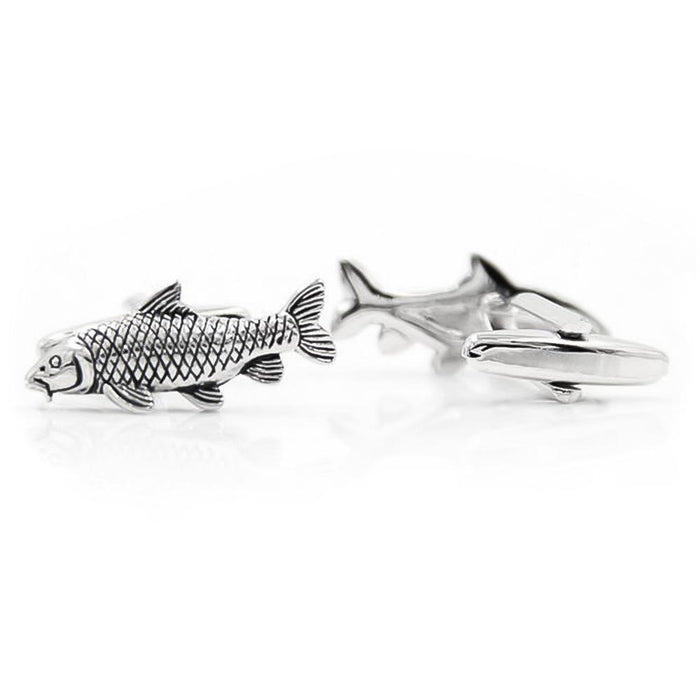 Fish Carp Fishing Cufflinks Silver Black Image Pair Front and Back