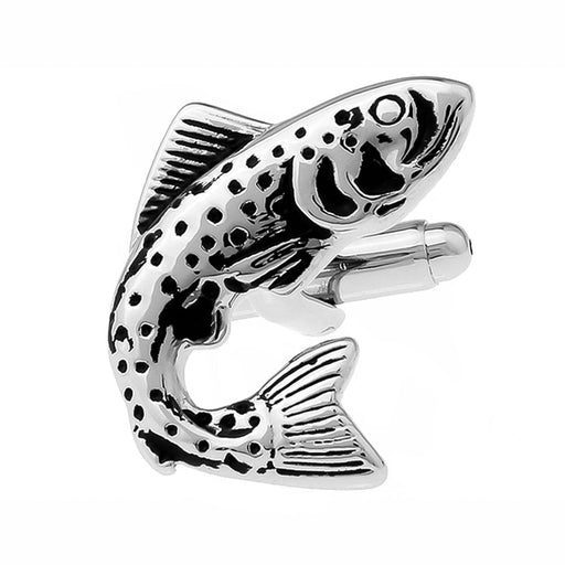 Fishing Cufflinks Sport Fish Silver And Black Front