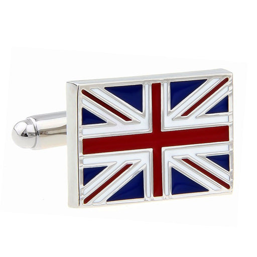 Union Jack British Flag Cufflinks Red Blue Image Front