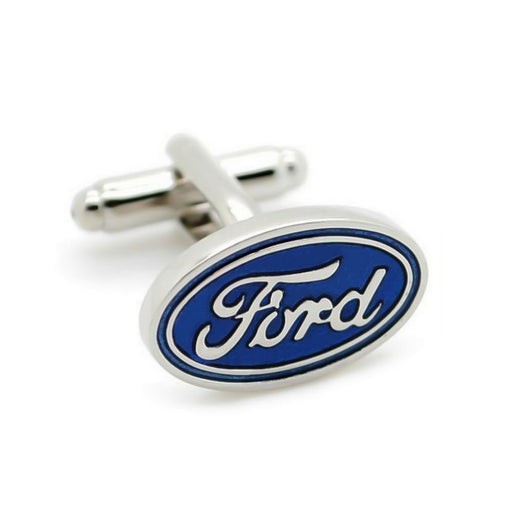 Ford Cufflinks Car Logo Silver Front View