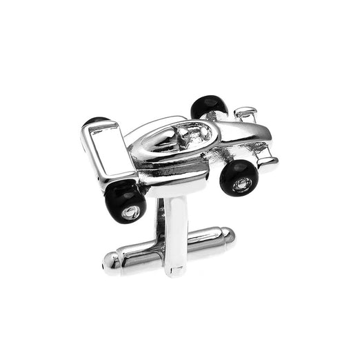F1 Racing Cufflinks Formula One Silver Front