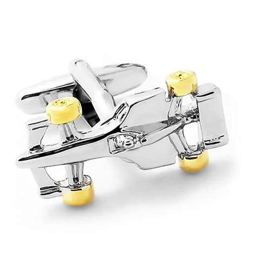 Formula 1 Racing Car Cufflinks Gold Silver Front Image