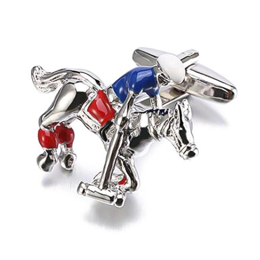 Horse and Polo Player Cufflinks Silver Red Blue Image Front
