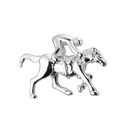 Horse Cufflinks Jockey Riding Silver Sport Front