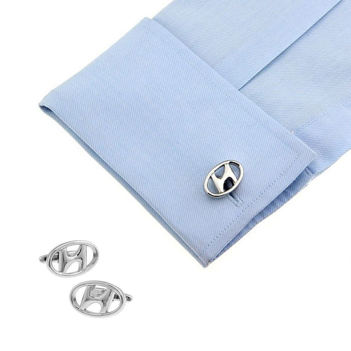 Hyundai Cufflinks Car Logo Silver On Shirt Sleeve