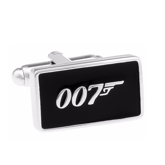 James Bond 007 Cufflinks Silver Black Front