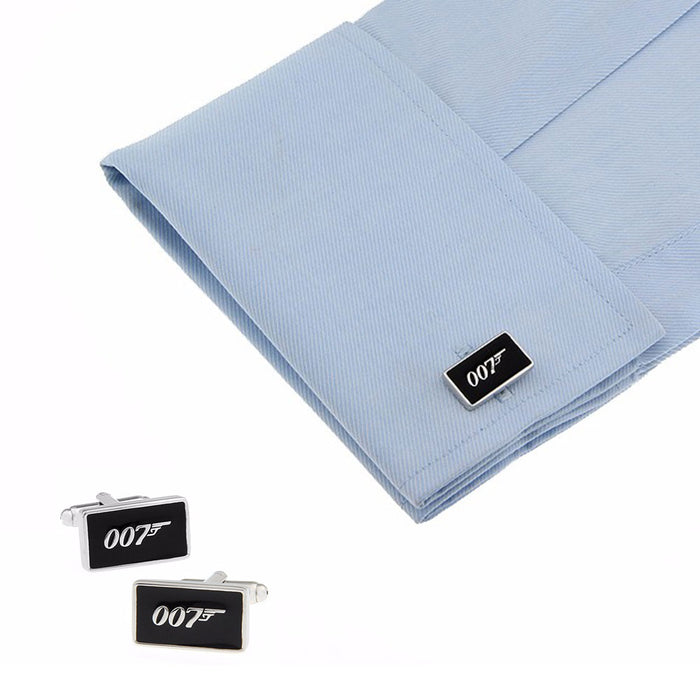 James Bond 007 Cufflinks Silver Black On Shirt Sleeve