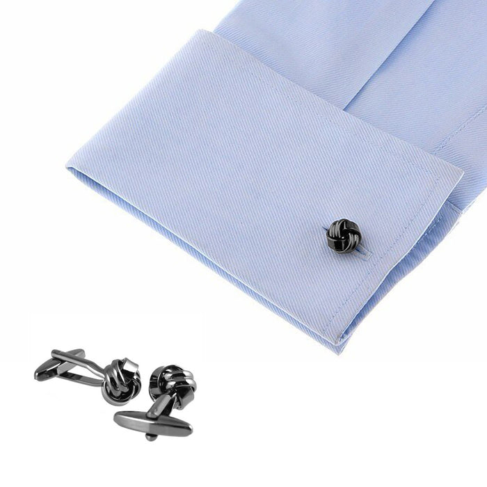 Double And Single Interlace Know Cufflinks Gunmetal Black On Shirt Sleeve