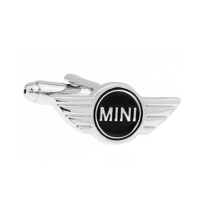 Mini Cooper Cufflinks Car Logo Silver Front View