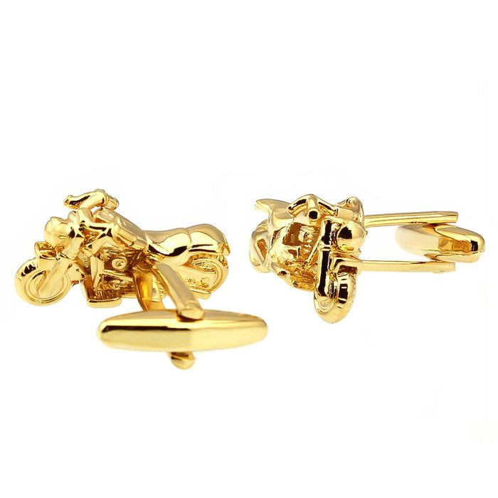 Gold Motorcycle Cufflinks Harley Davidson Front and Back