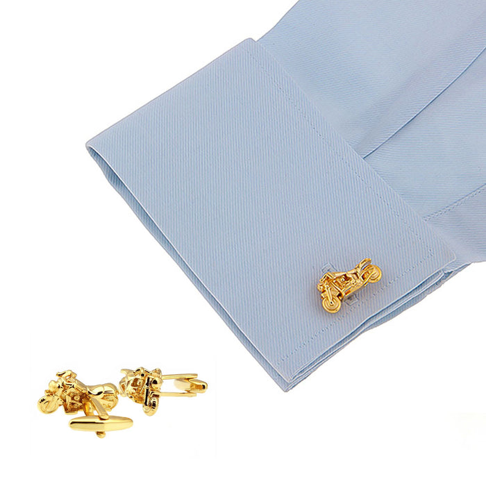 Gold Motorcycle Cufflinks Harley Davidson On Shirt Sleeve
