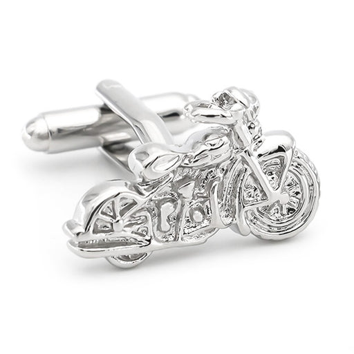 Motorcycle Cufflinks Silver Harley Davidson Image Front