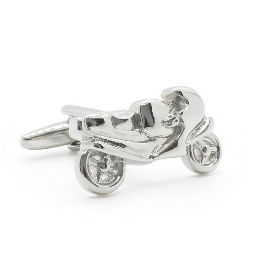 Racing Motorcycle Bike Cufflinks Silver Image Front