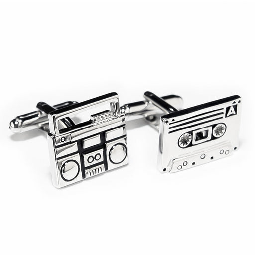 Cufflinks Cassette And Music Tape Player Silver Pair