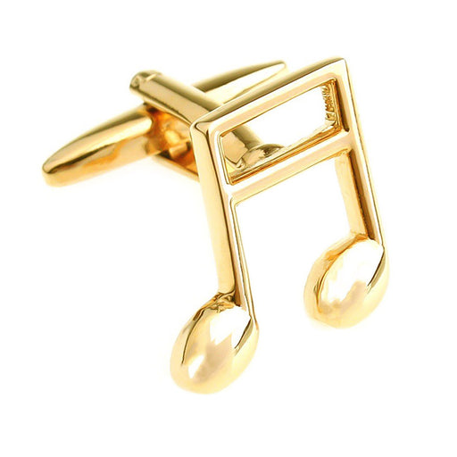 Gold Music Note Cufflinks Front