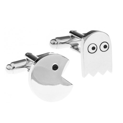 Pac-Man Cufflinks Game Silver Set Front