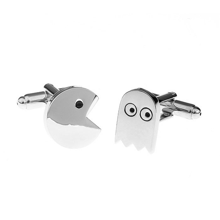 Pac-Man Cufflinks Game Silver Set Side