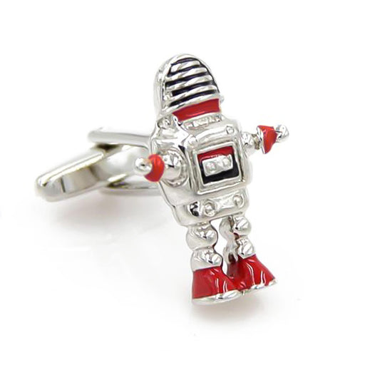 Futuristic Robot Cufflinks Silver Red Front Image