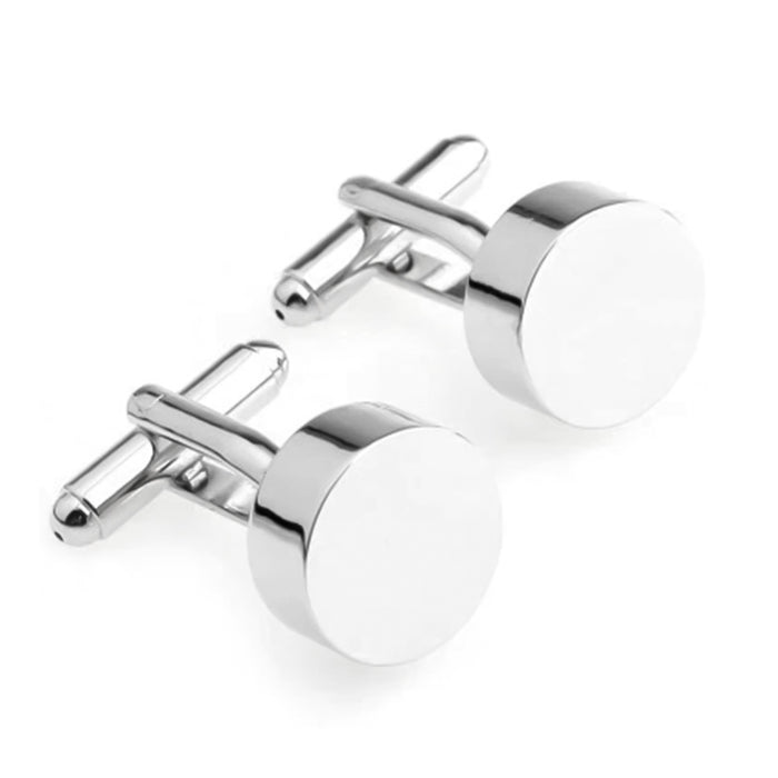 Cufflinks - Round Glossy Flat Thick Surface (Silver)
