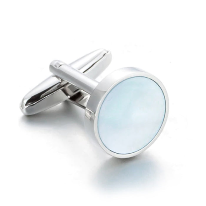 Round Flat Pearl Cufflinks Light Blue and Silver