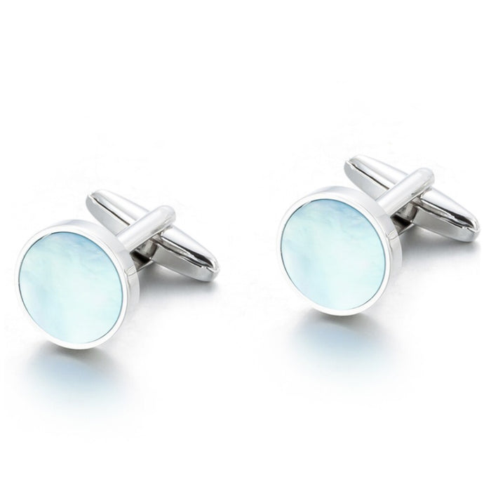 Round Flat Pearl Cufflinks Light Blue and Silver Pair
