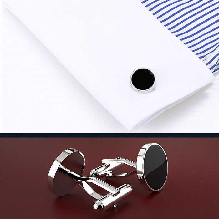 Cufflinks - Silver Round Cut with Glossy Black Inner