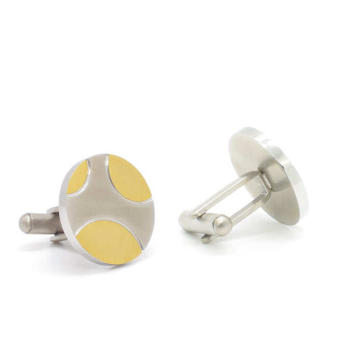 Cufflinks - Silver & Gold Curved Lines (Round) | That Bloke