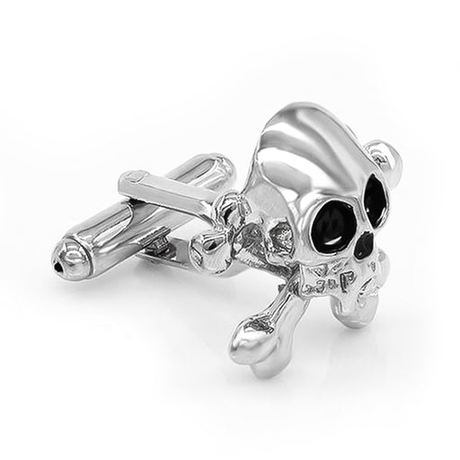 Silver Pirate Skull Cufflinks Front