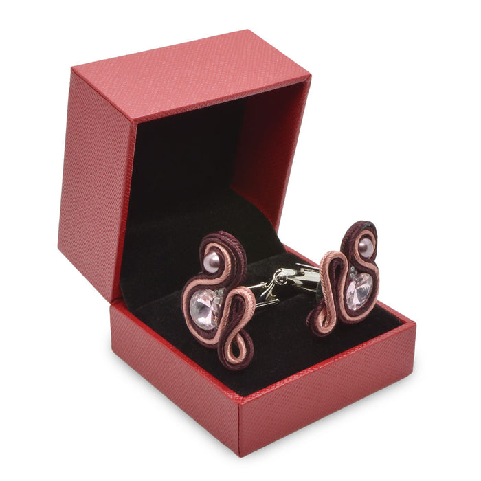 Cufflinks - Handmade Soutache (Maroon & Light Pink)