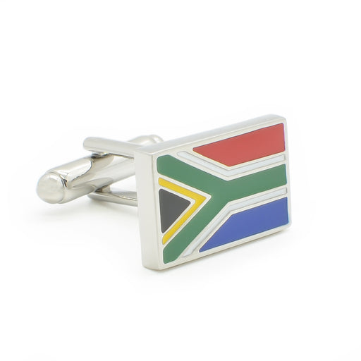 South African Flag Cufflinks Silver Front Image