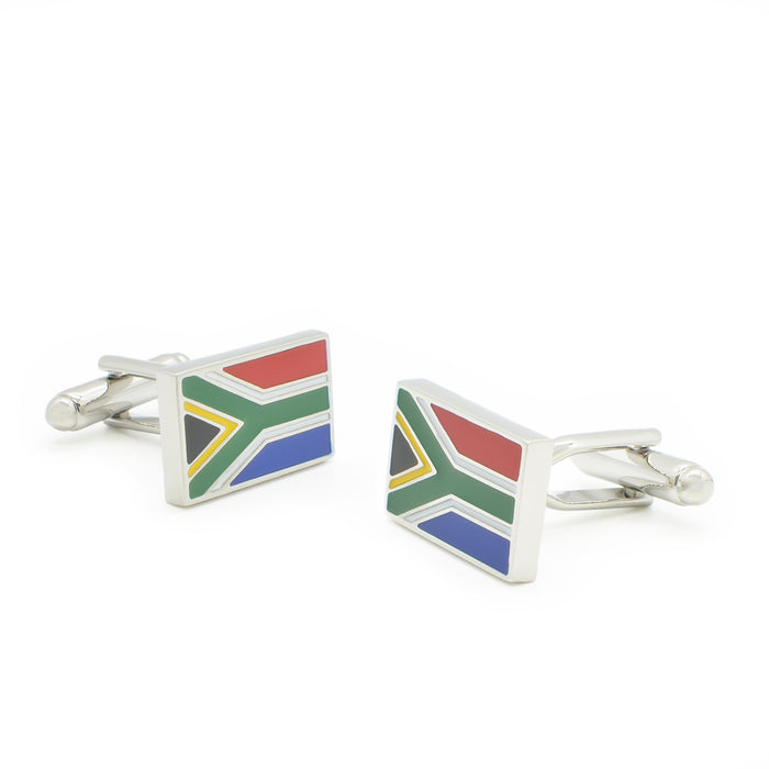 South African Flag Cufflinks Silver Pair Side Image