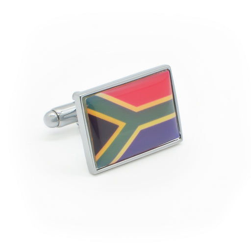 South African Flag Cufflinks Silver Resin Filled Front