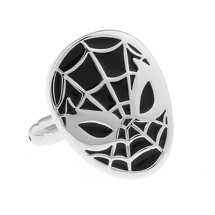 Spider-Man Cufflinks Superhero Silver Black Front