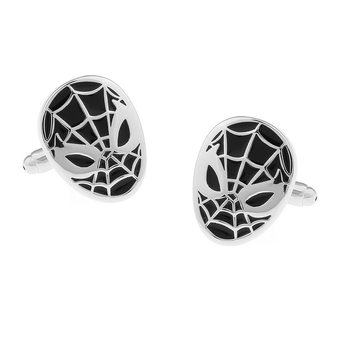 Spider-Man Cufflinks Superhero Silver Black Front Pair