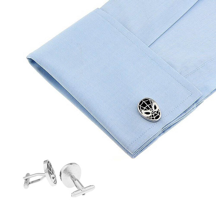 Spider-Man Cufflinks Superhero Silver Black On Shirt Sleeve