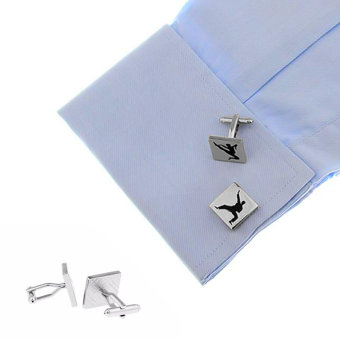 Kung Fu Karate Cufflinks Silver On Shirt Sleeve