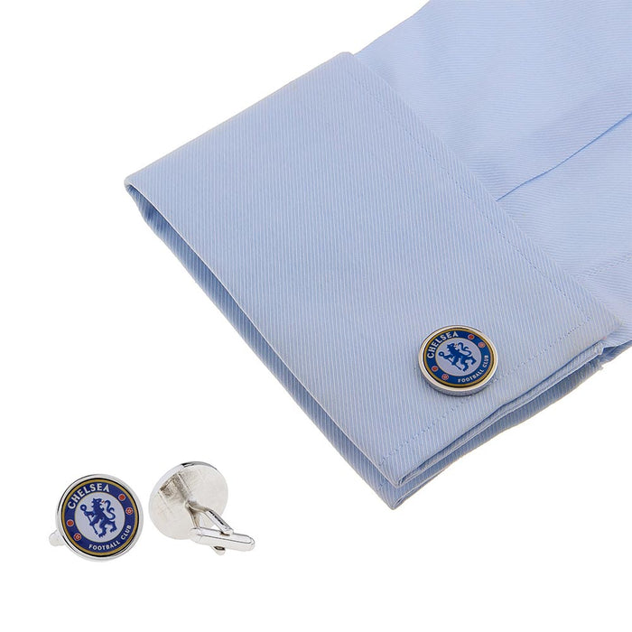 Chelsea Cufflinks Football Club Silver Image On Shirt Sleeve