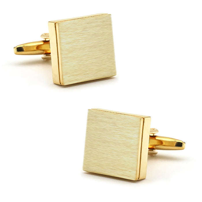 Brushed Gold Square Cufflinks Image Pair