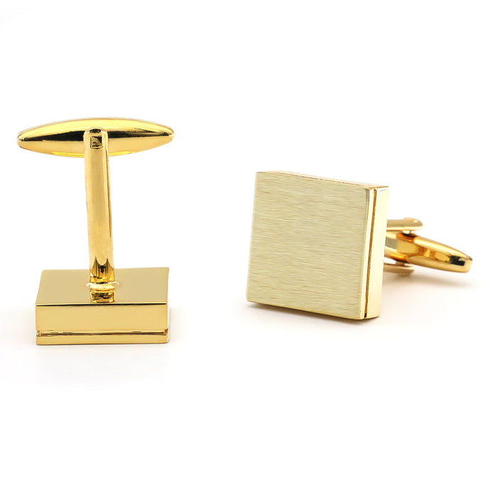 Brushed Gold Square Cufflinks Image Pair Front and Back