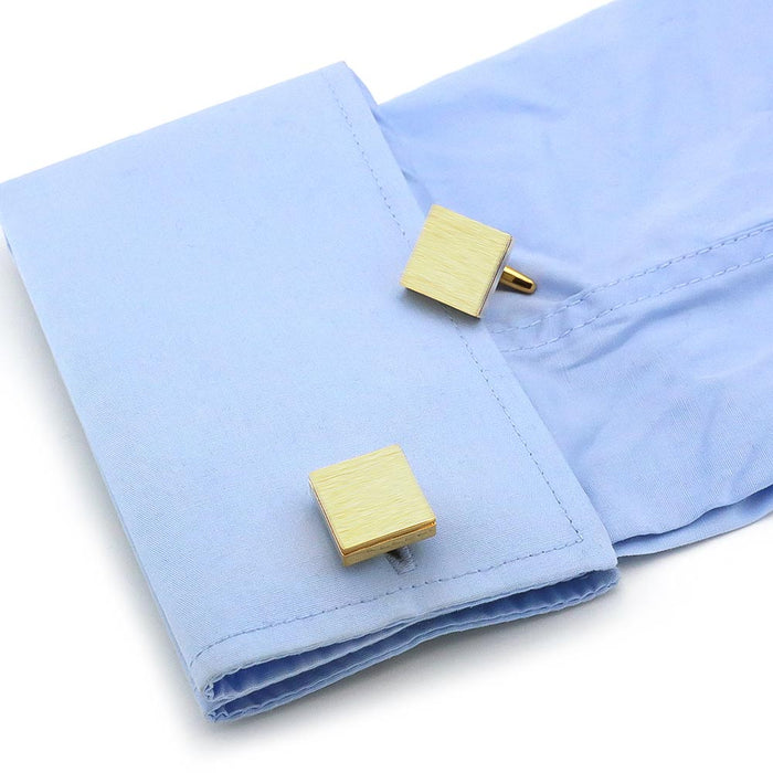 Brushed Gold Square Cufflinks Image On Shirt Sleeve