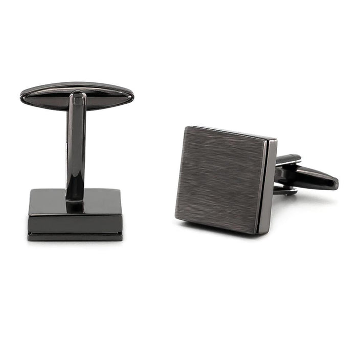 Brushed Gunmetal Black Square Cufflinks Image Pair Front and Bottom