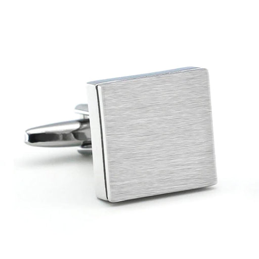Brushed Silver Square Cufflinks Image Front