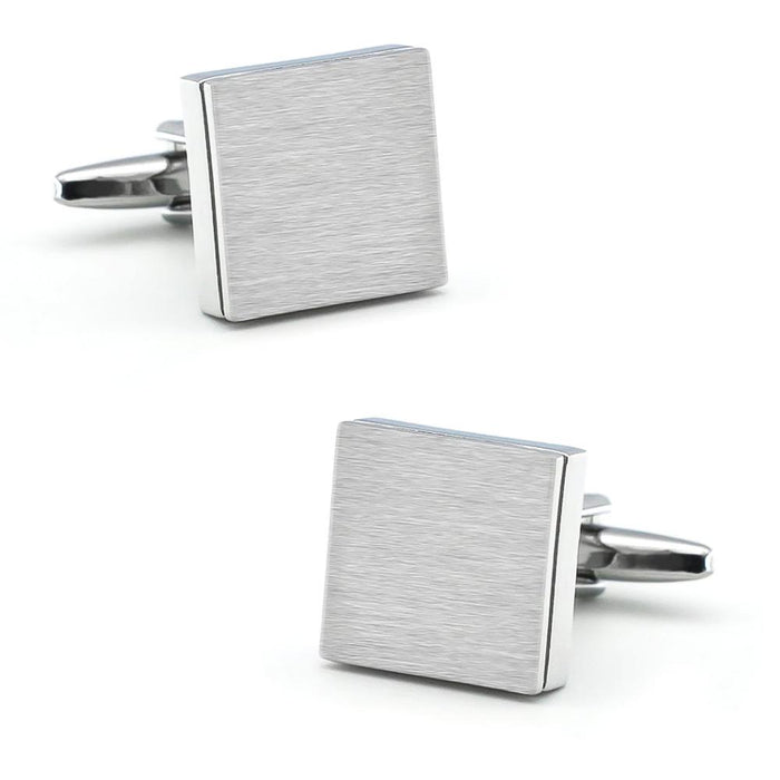 Brushed Silver Square Cufflinks Image Pair