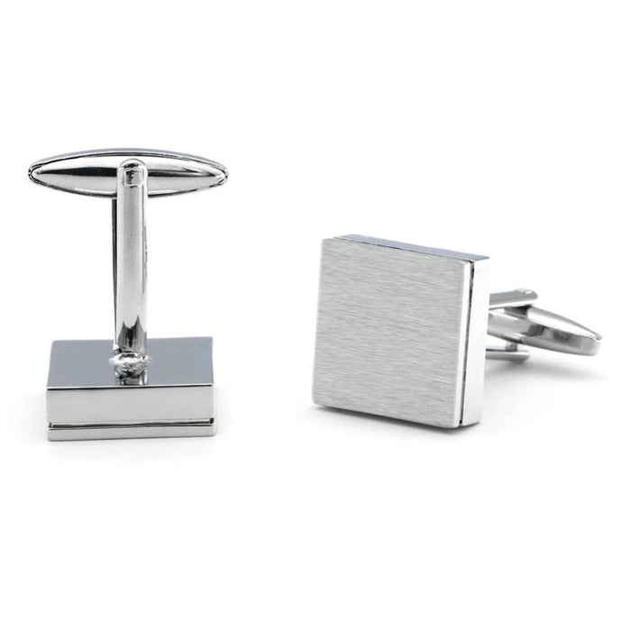 Brushed Silver Square Cufflinks Image Pair Front and Back